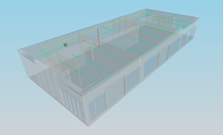 CYPEFIRE Sprinklers. Diagramas de isovalores de tubagens no visor 3D do BIMserver.center.